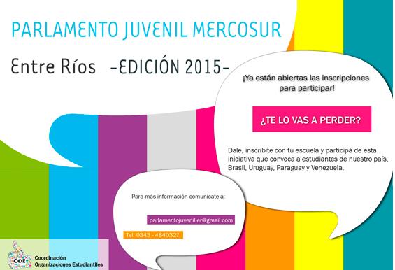 Inscripciones abiertas: Parlamento Juvenil del Mercosur -Edición 2015- Entre Ríos.