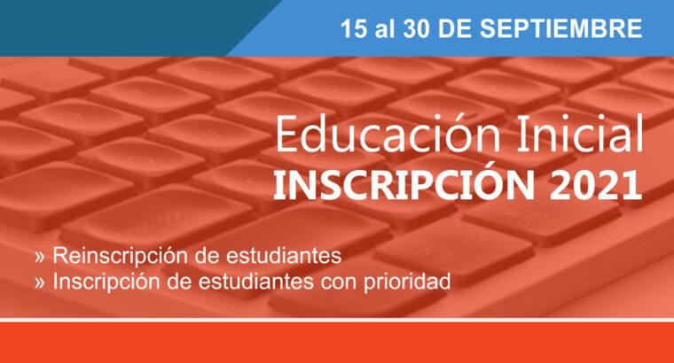 Inscripción Educación Inicial 2021